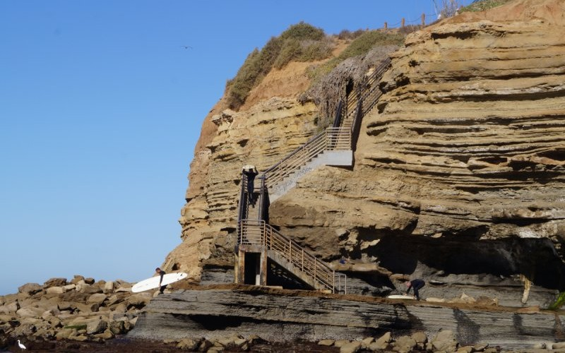 sunset cliffs - Staircase leading from street to tidepool area